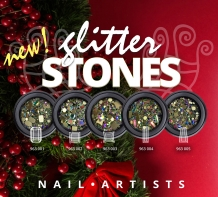 Nail Artists Glitter Stones 6 White Rechthoek